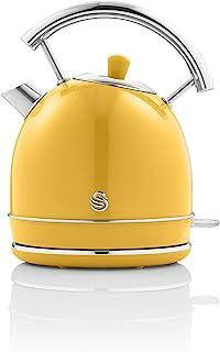 Swan Retro 1.8 升圆顶水壶,黄色,快速煮沸,3KW,360 度旋转底座,不锈钢,SK14630YELN
