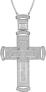 Dazzlingrock 系列 1.60 克拉 (ctw) 圆形钻石男士嘻哈宗教十字架吊坠 1 1/2 CT,纯银