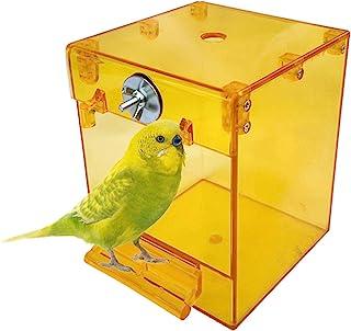 kathson 鹦鹉 浴箱 鸟 悬挂式 浴缸 淋浴 碗 笼 配件 适用于宠物鸟 金丝雀 长尾鹦鹉 小鸟 Budgies Lovebirds (黄色)