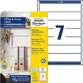 AVERY Zweckform LR4760-10 回收文件夹脊柱标签(70 个书脊标签,A4 x 192 毫米,* 可回收废纸,可打印,可自粘文件夹标签,适用于家庭办公室)10 张,白色