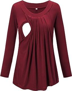 Love2Mi 女士孕妇护理衬衫褶皱飘逸长袖哺乳上衣 酒红色 X-Large