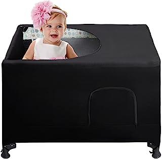 Pack N Play 婴儿床罩,透气旅行婴儿床帐篷 - 便携式弹性遮光帐篷