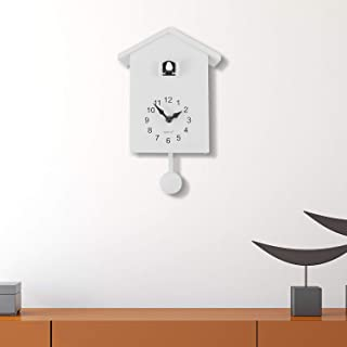 WALPLUS 白色极简杜鹃时钟 - 白色窗口可变化 4 只鸟