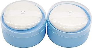 AUEAR,2 件婴儿沐浴后粉泡盒空体粉盒盒,带粉泡筛,适用于家庭和旅行(蓝色,9.0 厘米 x 6.0 厘米)