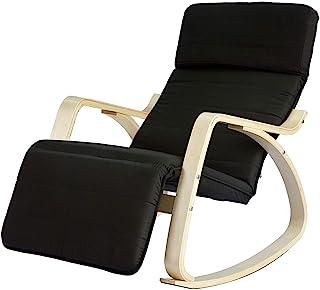 SoBuy Haotian 舒适休闲摇椅,带脚踏设计,休闲椅,躺椅,躺椅,聚棉面料靠垫,FST16
