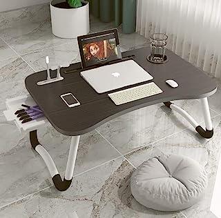 笔记本电脑桌,便携式可折叠笔记本电脑托盘桌,带 USB 充电端口/杯架/储物抽屉,适用于床/沙发/沙发工作,阅读(黑色)