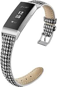 NAHAI 指环兼容Fitbit Charge 3/Charge 3 SE,细窄透气帆布面料替换腕带细运动表带配件适用于 Fitbit Charge 3,女士男士,大号小号