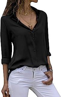 Yidarton 女式长袖 V 领雪纺衬衫上衣系扣商务衬衫