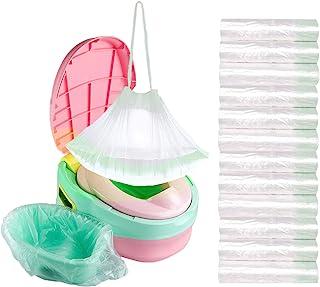 120 个装便携式马桶椅衬垫抽绳袋,通用如厕训练马桶坐垫衬里袋,适合儿童幼儿户外旅行马桶坐便袋
