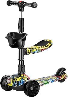 Alwcard 3 轮儿童滑板车 - 加宽车轮 LED 灯和重力辅助转向设计,可调节倾斜转向车把 - 带刹车的支架骑乘,适合 3-14 岁男孩和女孩