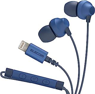 Elecom宜丽客 耳机 Lightning iPhone 10 毫米驱动器 Fast Music F12C系列 带麦克风 蓝色 EHP-LF12CMXBU