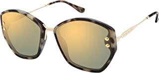 Vince Camuto 女式 VC877 几何太阳镜,带铆钉镜片细节,金属镜腿和鼻梁,* 紫外线防护,62 毫米