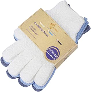 EvridWear 去角质双重纹理沐浴手套适用于淋浴、Spa、按摩和身体磨砂、死皮*去除剂、带悬挂环的手套 3 Pairs 3 Levels