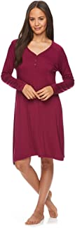 Lamaze 贴身女士护理睡衣长袖哺乳孕妇睡衣睡裙, 莓红色, Small