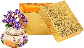 Sanpyl 饰品盒,复古彩色金属釉面油画钻石首饰收纳盒,桌面装饰工艺礼品(橙色)