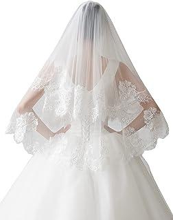 EllieHouse 2 层指尖长度婚礼新娘面纱带梳子 X30