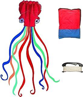 大号儿童风筝 简易飞行软件 红色章鱼风筝 优质红色礼物 适合儿童女孩、男孩成人初学者和专业人士,享受公园海滩户外露营家庭的乐趣