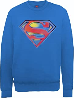 DC Comics 男式 DC0001016 官方超人模板标志圆领长袖运动衫