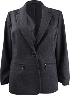 Kasper 女式黑色拉链西装外套上班夹克尺码 16W
