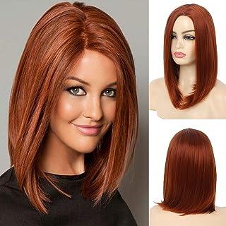 Kaneles Auburn 假发短假发 白色 女性 侧部分 红棕色 假发 角色扮演 日常使用