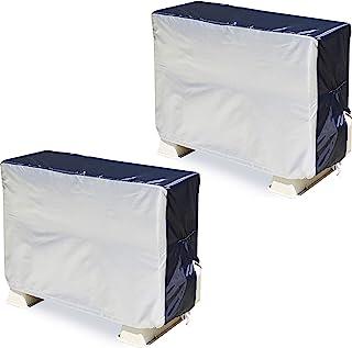 ASTRO 空调室外机罩 2件装 银色×黑色 防水加工 带橡胶 管状开叉 带防风绳 194-06 大