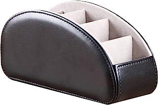 一体式皮革电视带 5 个隔层,CD 媒体播放器,遥控支架,床头柜,遥控器,收纳盒,化妆刷固定桌面控制器(黑色)