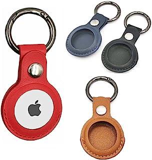 G2eComme 皮革保护套 AirTag 钥匙扣超值装 4 件 Apple Air 标签夹钥匙圈 兼容防丢失全信号跟踪定位器 儿童与老人定位查找器和狗项圈