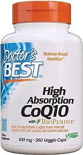 Doctor's Best 高吸收辅酶Q10,含BioPerine,无麸质,自然发酵,素食主义,100毫克360粒素食胶囊