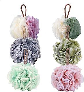TOUGS 沐浴海绵丝瓜,身体磨砂网眼泡沫球,去角质,清洁舒缓皮肤,6 件装