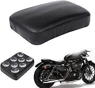WINALL Black Pillion Pad Seat 8 摩托车吸盘单排后座乘客座适用于Harley Dyna Sportster Softail Touring XL883 1200 48。