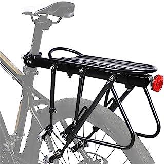 DoCred 自行车架, 300 磅容量 实心轴承 通用可调节自行车行李架带后反射器,自行车设备支架