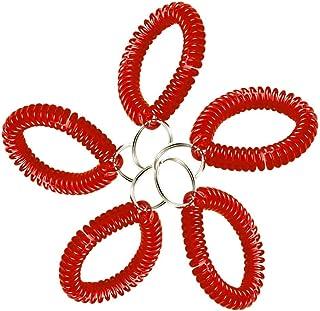 Lucky Line 2 英寸(约 5.1 厘米)直径螺旋腕圈带钢钥匙环,弹性腕带钥匙链手链,可拉伸至 12 英寸(约 30.5 厘米),红色,5 件装 (4107005),红色 5 件装