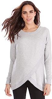 Seraphine 女式灰色泥灰 Crossover 孕妇和哺乳毛衣