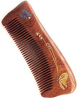 Sitronugras 天然手工木制梳子,细齿檀香梳,带手绘,无静电无钩住木质梳子,男女儿童(手绘 3)