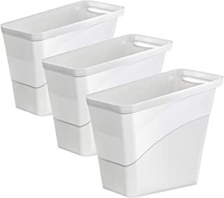 Amazing Abby - 便利花公子 - 3 件装时尚小塑料垃圾桶,垃圾篮,家庭和办公室垃圾桶,2 加仑(8 升)容量