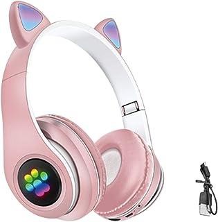 儿童耳机,猫耳无线游戏耳机,可折叠 LED 发光蓝牙头戴式耳机,音量限制,FM 收音机,TF 卡,麦克风,适合儿童成人