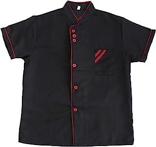 DOITOOL 短袖厨师服透气厨师服务员工作黑色制服餐饮工作人员衬衫服装女士男士 M 码