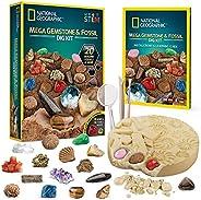 NATIONAL GEOGRAPHIC 巨型化石和宝石挖掘套件,挖掘 20 个真正的化石和宝石,为所有年龄的矿物学和地质爱好者提供伟大的 STEM 科学礼物