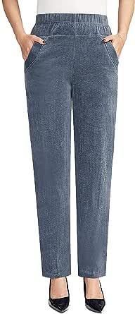 Zoulee 女式新款松紧腰直筒厚灯芯绒套穿裤带口袋