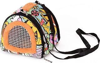 La La Pet 2 合 1 便携式小动物仓鼠手提包和温暖鸟巢吊床房,带可拆卸肩带拉链和透气网眼窗宠物户外鹦鹉豚鼠松鼠(A)
