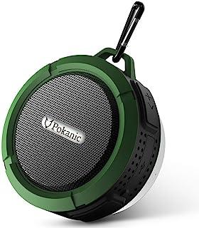高清防水蓝牙 3.0 淋浴扬声器,Pokanic 防水免提便携式扬声器,内置麦克风,6 小时播放时间,控制按钮和*吸盘
