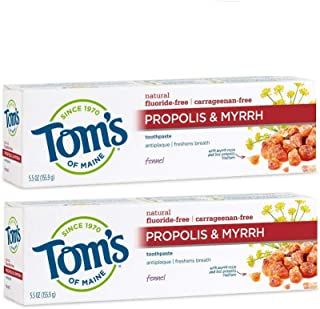 Tom's of Maine 无氟蜂胶无药天然牙膏,茴香,5.5盎司,155.9克,2包