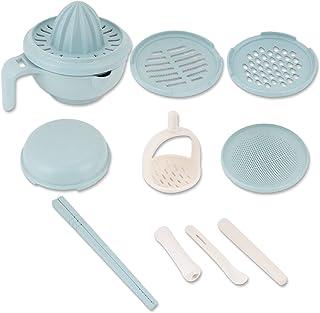 9 件婴儿食品制作机,手动食物研磨碗,适用于婴儿喂食(蓝色)