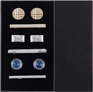 EvmAsaLQ 3 件套袖扣领带夹套装纽扣衬衫商务男士礼品盒,婚礼商务礼品盒 Eleagnt 礼品盒领带夹袖扣套装金色、银色和纽扣