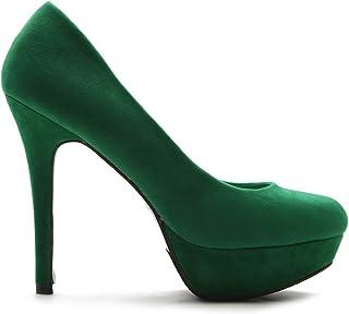 ollio 女式细高跟麂皮绒防水台高跟多色鞋泵