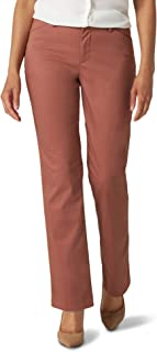 Lee Women's Misses Wrinkle Free Relaxed Fit Straight Leg Pant, Cognac, 16