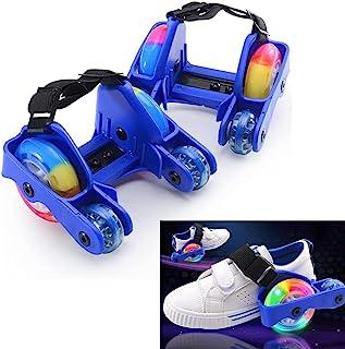 儿童发光鞋跟滑冰轮可调节双轮滑板车,均码,可调节尺寸双轮闪光滚轮,发光溜冰鞋,带 LED 灯