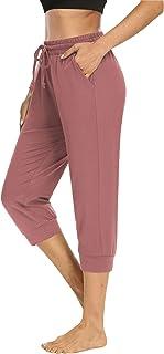 NOAHELLA 女式七分裤瑜伽裤抽绳七分慢跑裤运动裤女式舒适休闲睡裤带口袋