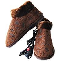 电暖鞋 电热鞋 暖脚宝 毛绒暖脚鞋 可走插电男女拖鞋 (29CM,39-41码咖啡)
