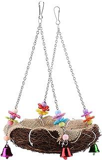 Zerodis 鸟秋千,吊床藤制鸟巢悬挂巢玩具吊床秋千悬挂玩具,适用于长尾鹦鹉 (L)